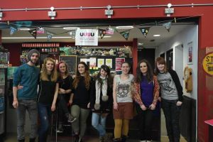 UU Belfast students who voluntarily run Bronze café. VP Belfast Sarah Gordon is second from the left.
