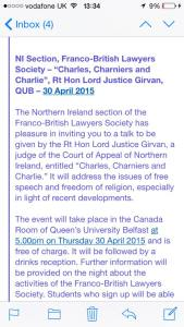 A screenshot of an email provided to The Gown by a student, detailing information about a forthcoming event backed by the School of Law, on issues surrounding the Charlie Hebdo murders.