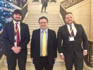 Ciarán Gallagher, SU President with Mark Bell, UU President meeting to lobby Minister Farry in December