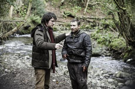 Stephen Fingleton and Martin McCann on the set on The Survivalist. Source: Bulldog Film Distribution