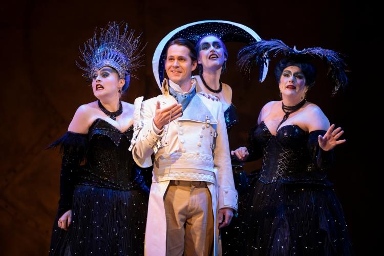 Bethan Langford, Jeni Bern, Sioned Gwen Davies (Three Ladies) and Peter Gijsbertsen (Tamino) in The Magic Flute. Scottish Opera 2019. Credit James Glossop (2).JPG